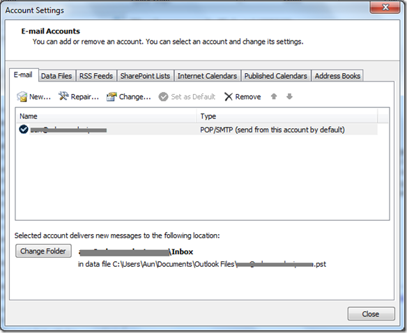 Email Account Outlook 2010