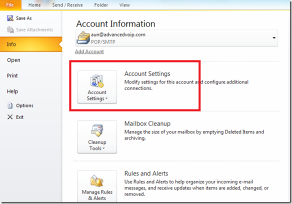 Outlook Account's Settings